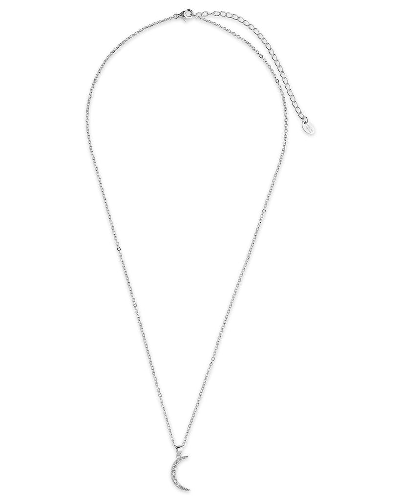 Sterling Silver CZ Half Moon Necklace - Sterling Forever