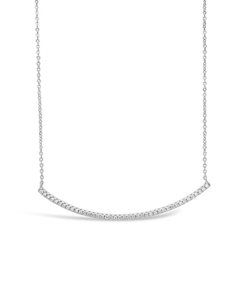CZ Curved Bar Necklace Necklace Sterling Forever Silver