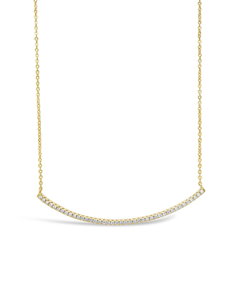 CZ Curved Bar Necklace - Sterling Forever