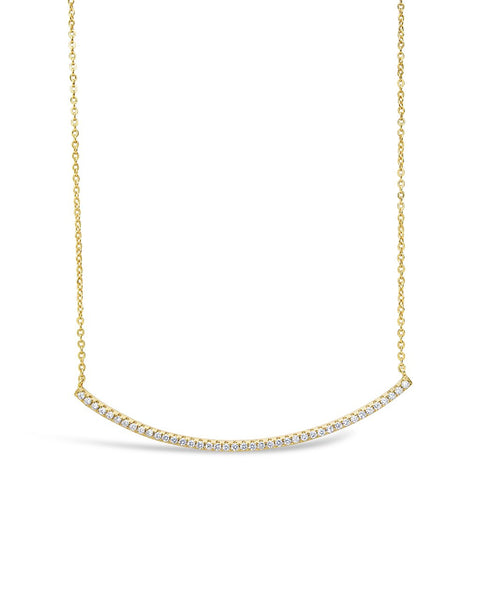 CZ Curved Bar Necklace