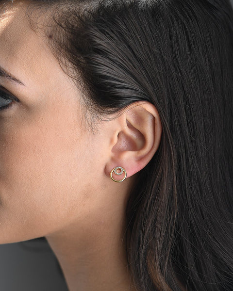 Double O CZ Stud Earrings