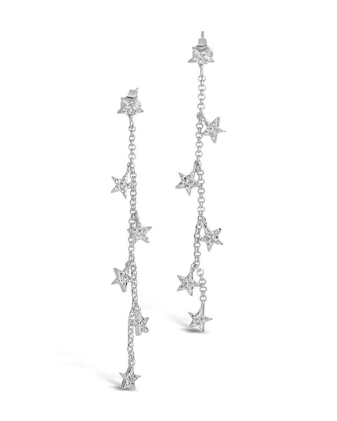 CZ Star Drop Earrings Earring Sterling Forever Silver