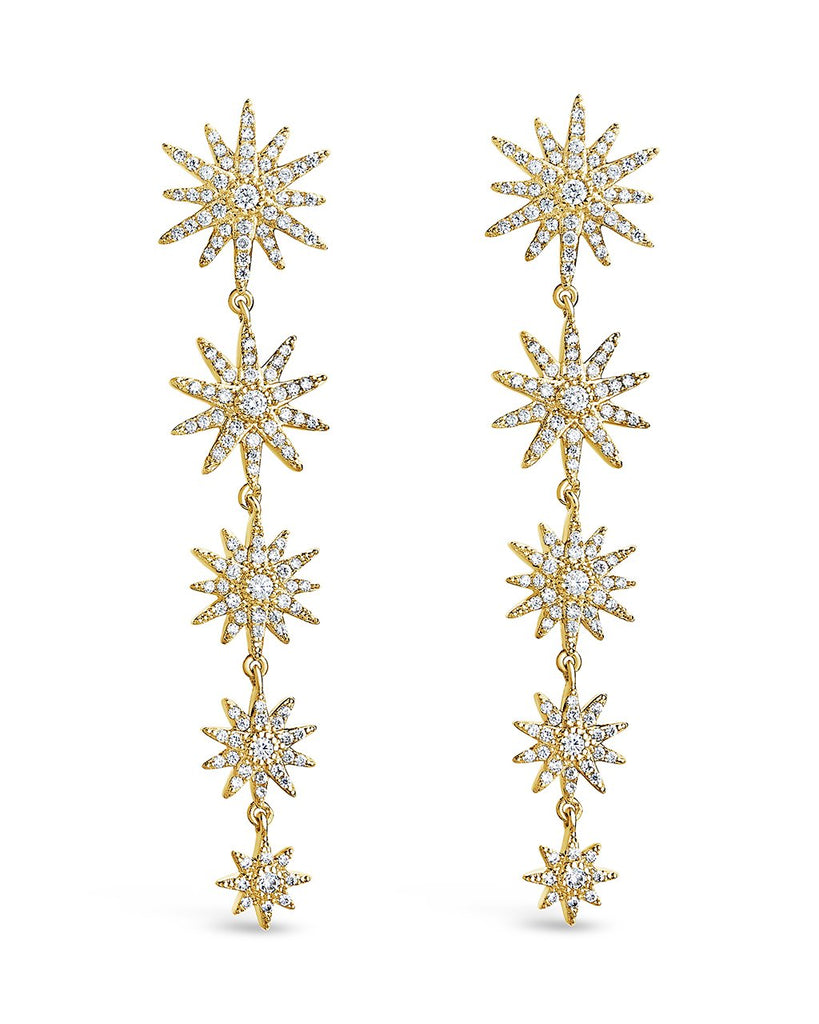CZ Burst Drop Earrings Earring Sterling Forever Gold