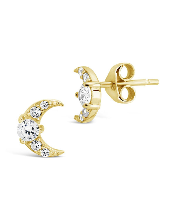 CZ Crescent Moon Studs - Sterling Forever