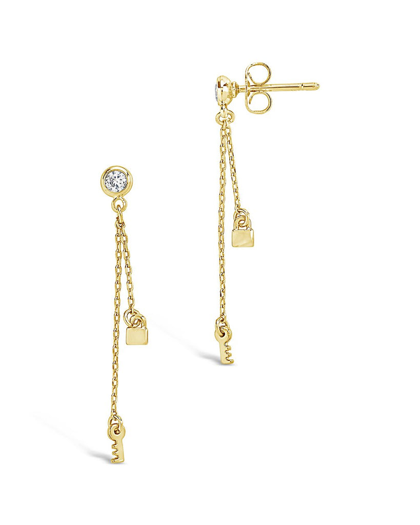 Lock and Key Dangle Stud Earring - Sterling Forever