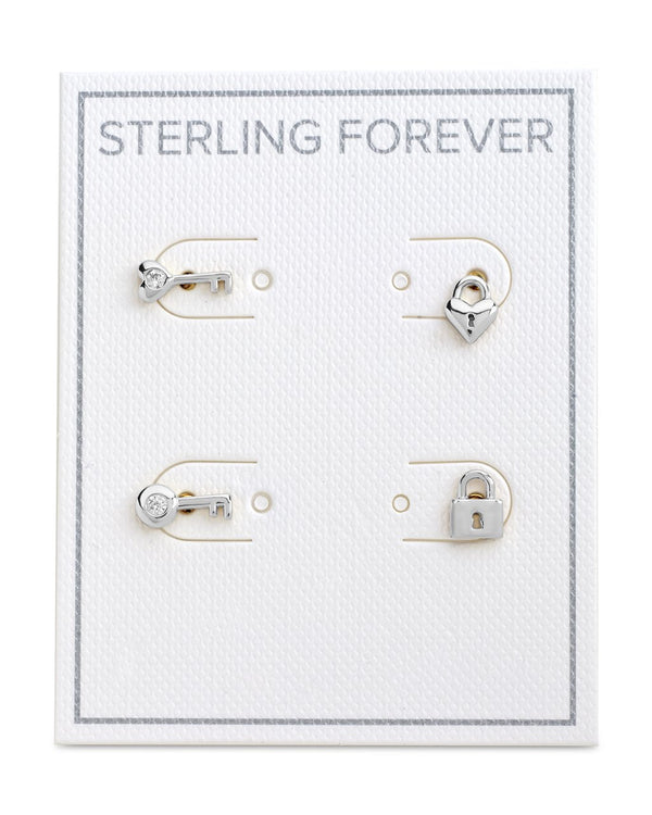 Lock and Key Stud Set Earrings - Sterling Forever