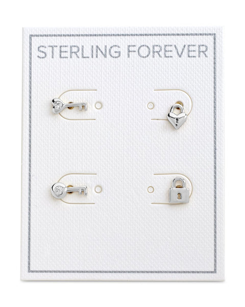 Lock and Key Stud Set Earrings Earring Sterling Forever Silver