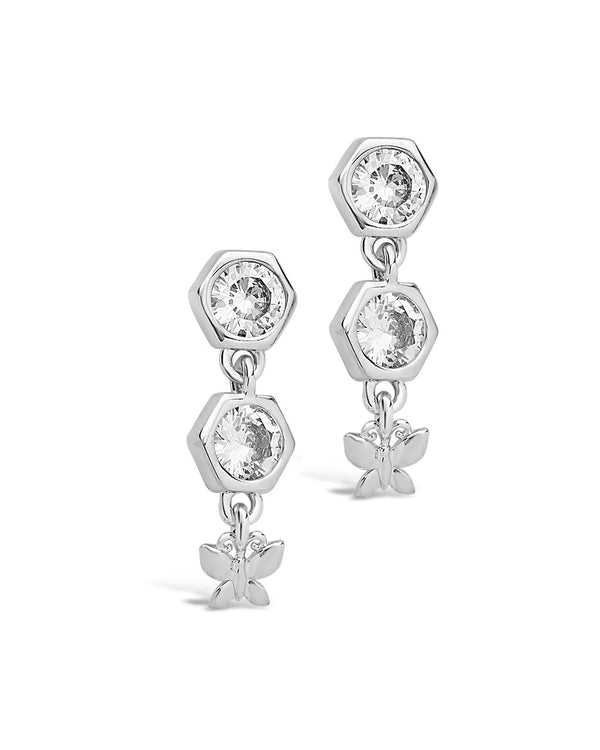 CZ Honeycomb & Butterfly Dangle Earrings - Sterling Forever