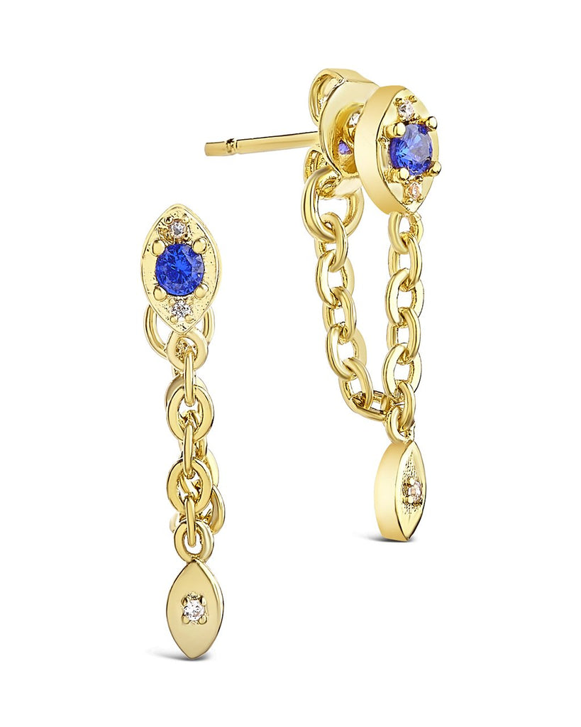 Charm and Chain Dangle Studs Earring Sterling Forever Gold Blue