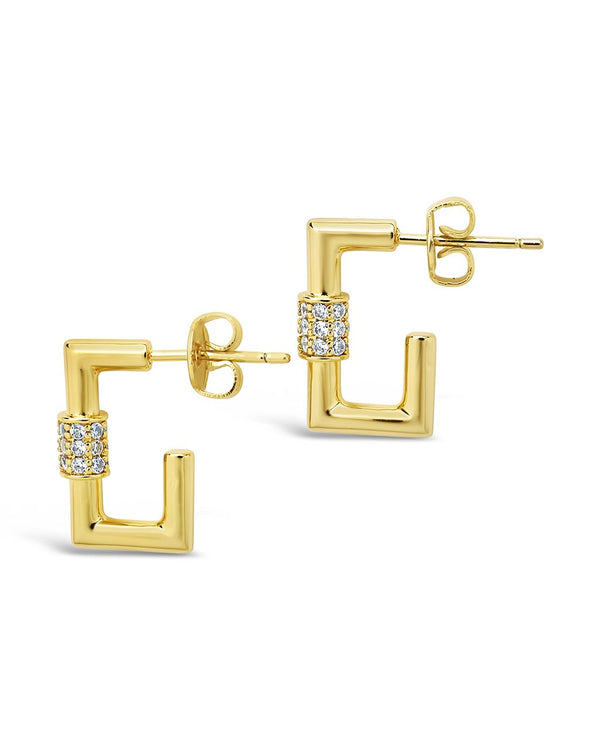 Square CZ Carabiner Clip Huggie Hoops Earring Sterling Forever Gold Clear