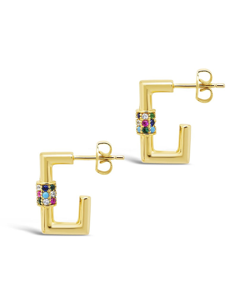 Square CZ Carabiner Clip Huggie Hoops Earring Sterling Forever Gold Multi