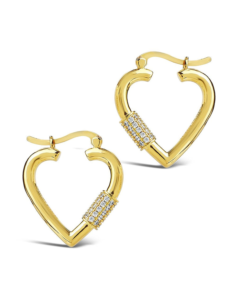 CZ Heart Carabiner Lock Hoops Earring Sterling Forever Gold Clear