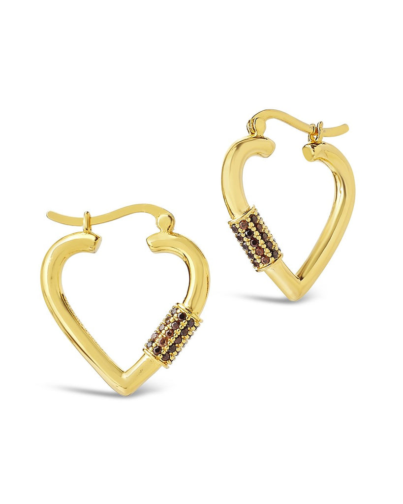 CZ Heart Carabiner Lock Hoops Earring Sterling Forever Gold Blush