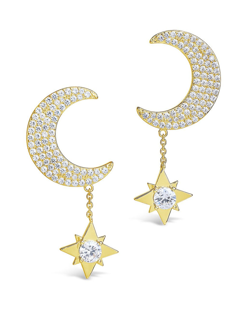 Moon & Dangle Star Studs Earring Sterling Forever Gold