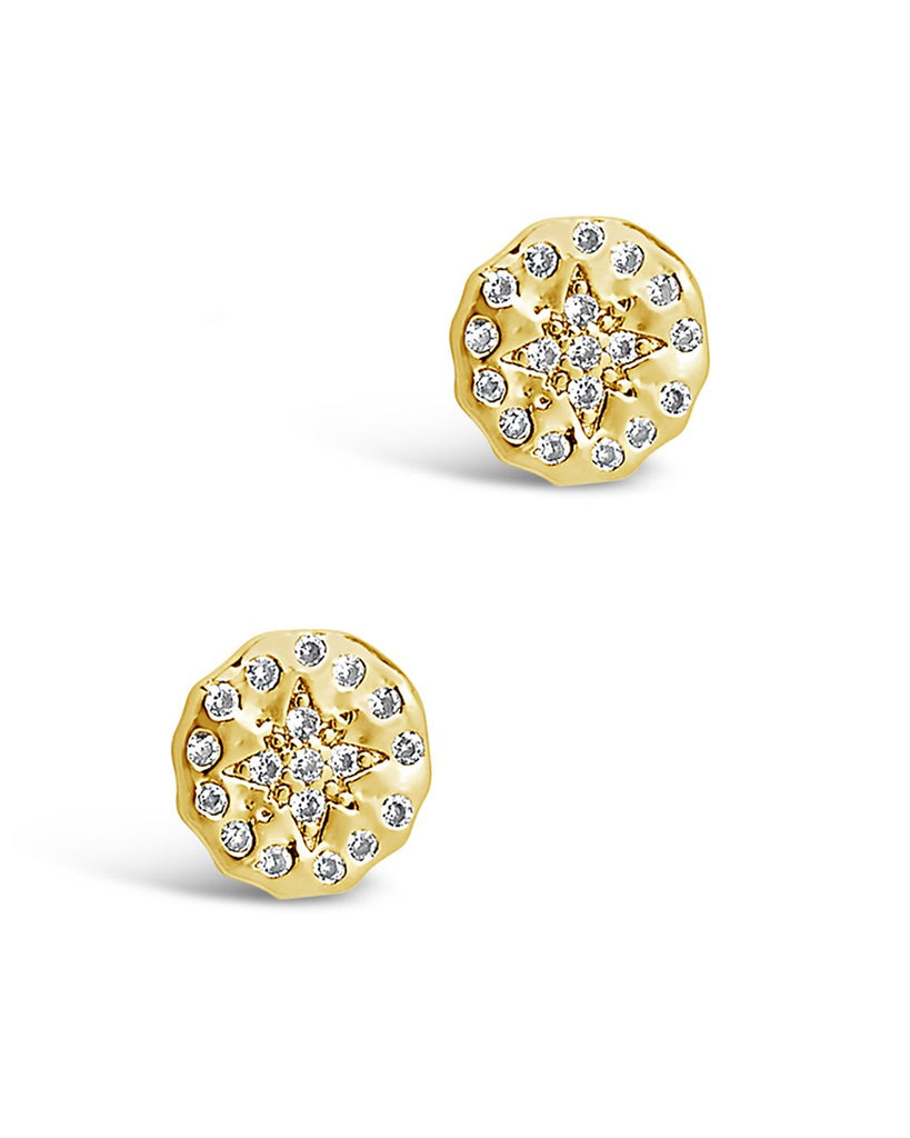 CZ Northern Star Studs Earring Sterling Forever Gold