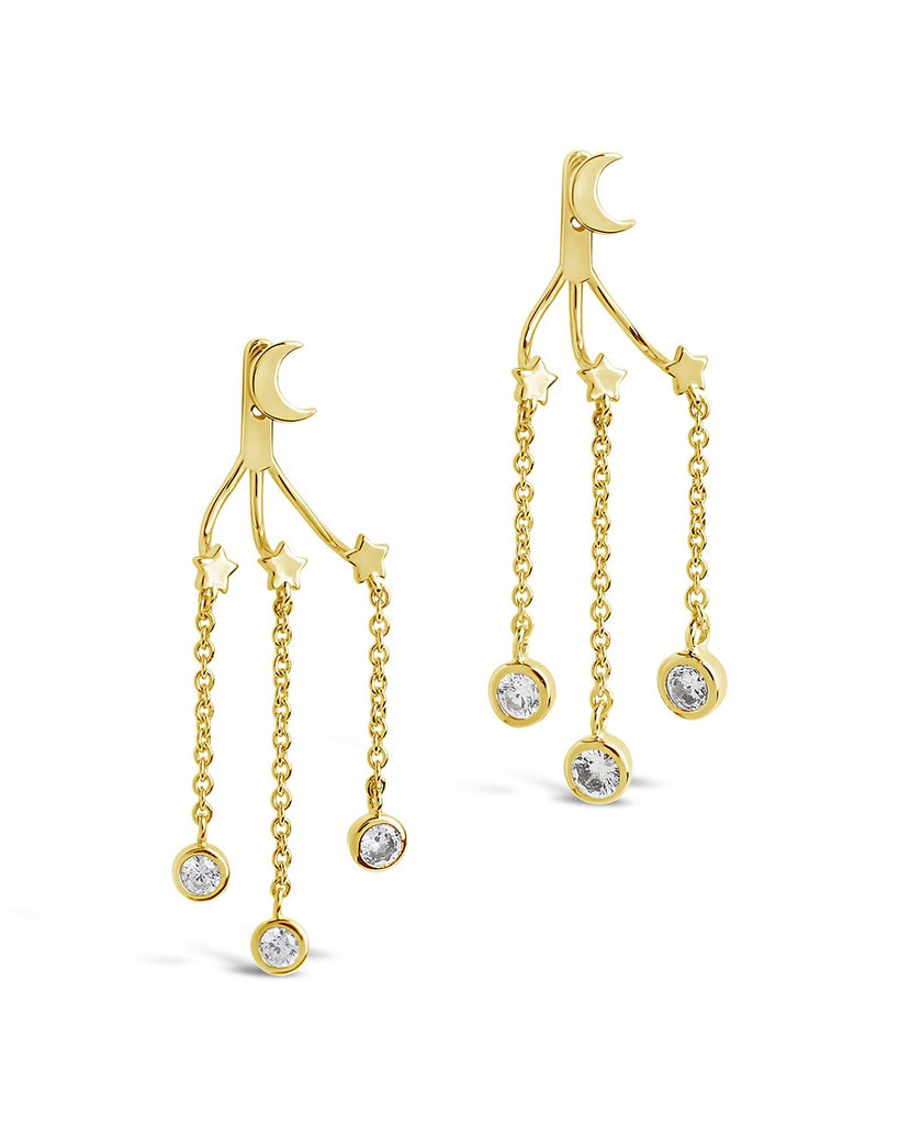CZ Moon & Star Jacket Earrings Earring Sterling Forever Gold