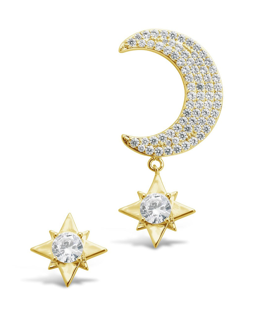 Asymmetric CZ Burst & Crescent Drop Studs Earring Sterling Forever Gold