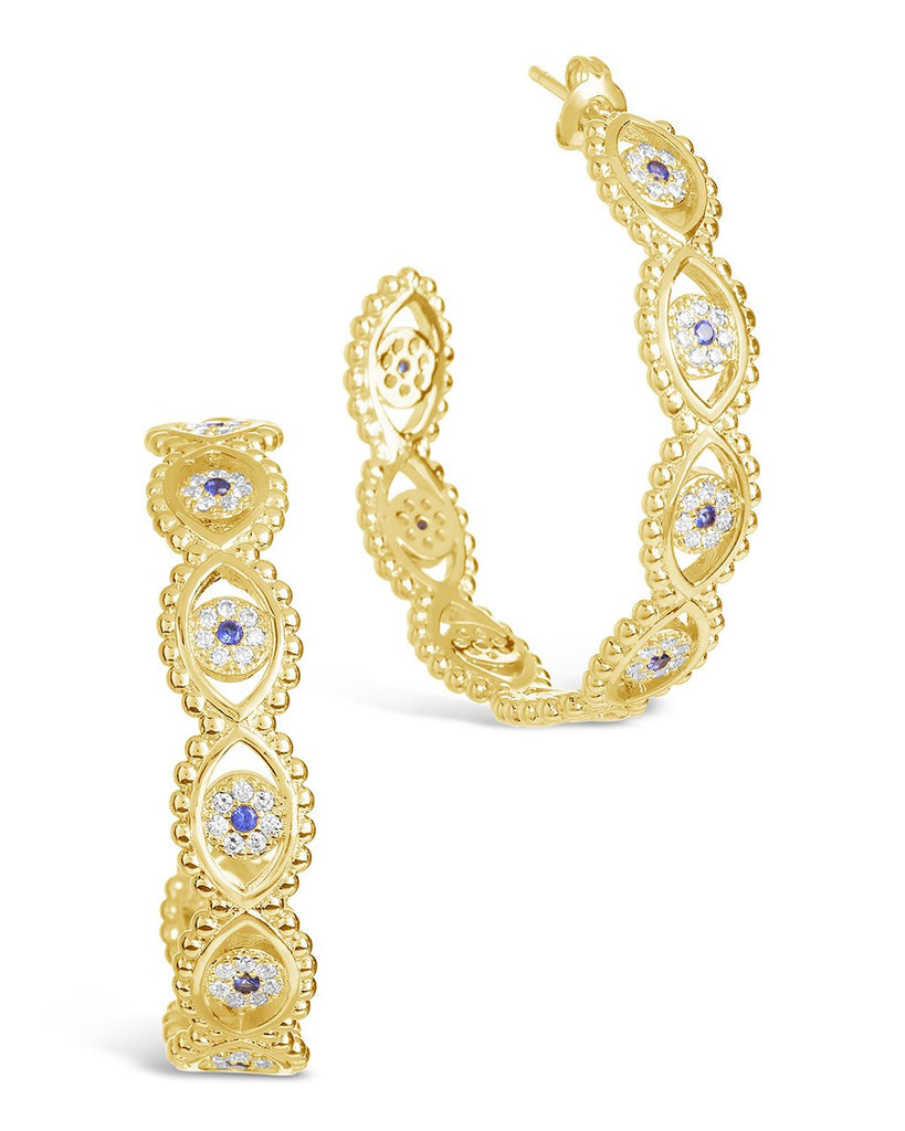 Ornate CZ Evil Eye Hoops Earring Sterling Forever Gold