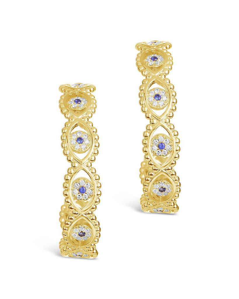 Ornate CZ Evil Eye Hoops Earring Sterling Forever