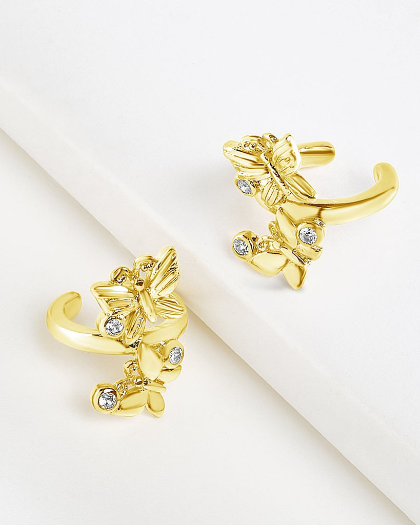 CZ & Butterfly Ear Cuff Set Earring Sterling Forever Gold