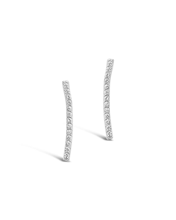 Sterling Silver Essential Pave Bar Studs - Sterling Forever