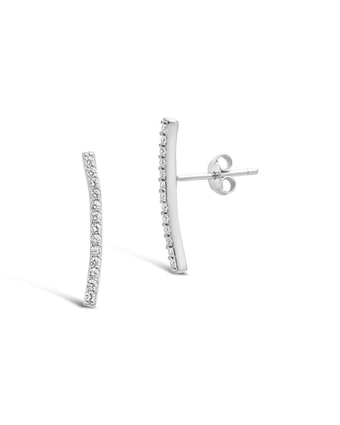 Sterling Silver Essential Pave Bar Studs Earring Sterling Forever