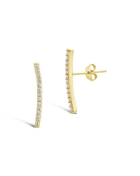 Sterling Silver Essential Pave Bar Studs
