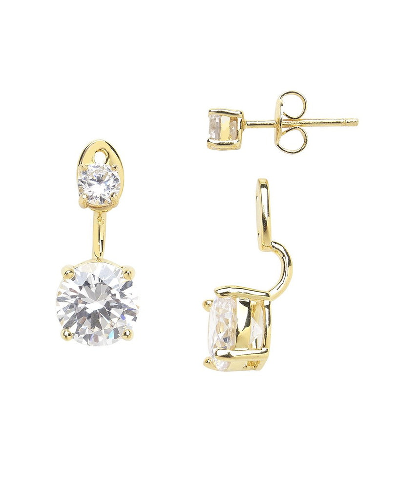 Brilliant CZ Stud Jacket Earrings - Sterling Forever
