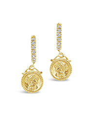 Crown Jewel Micro Hoops Earring Sterling Forever Gold
