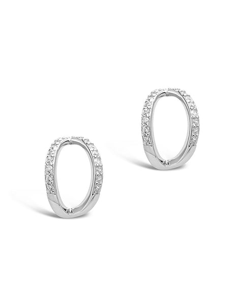 Sterling Silver CZ Pyramid Huggie Studs
