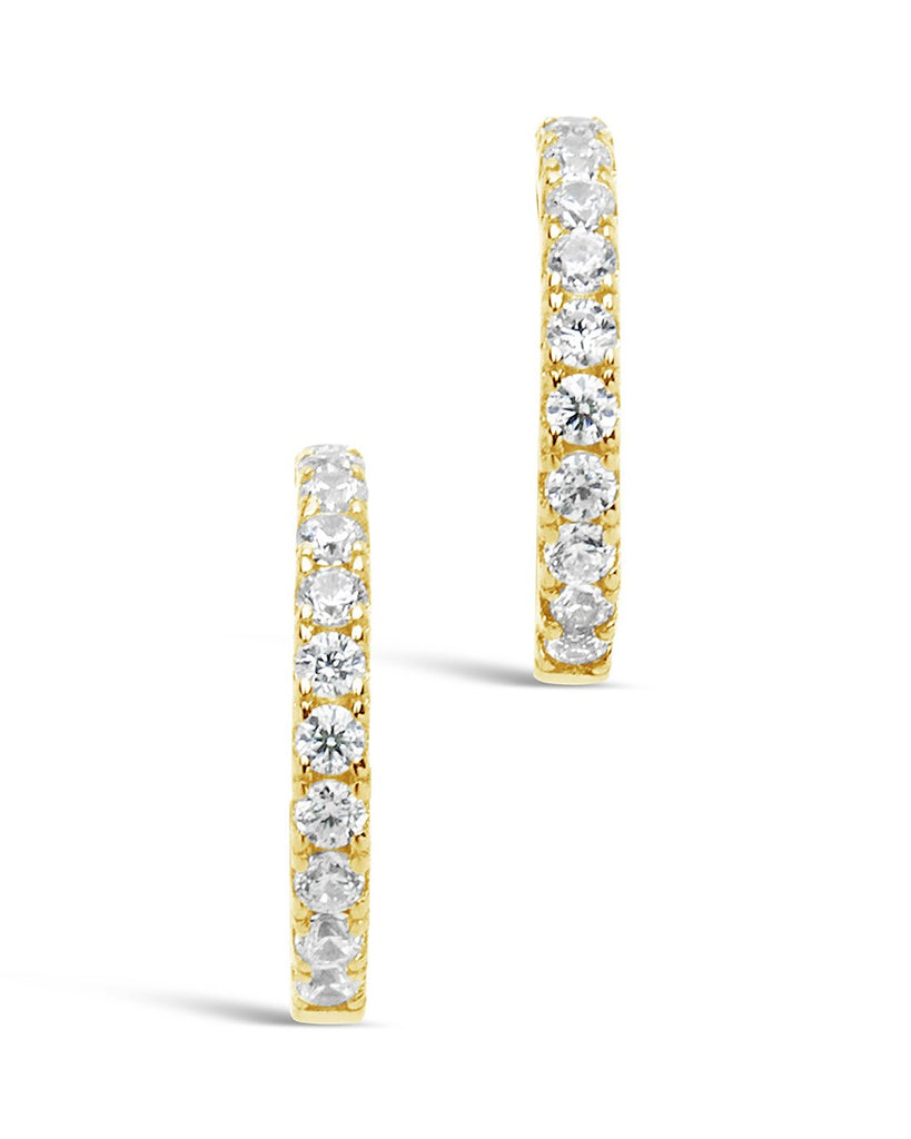 Sterling Silver Delicate Pave CZ Micro Hoops - Sterling Forever