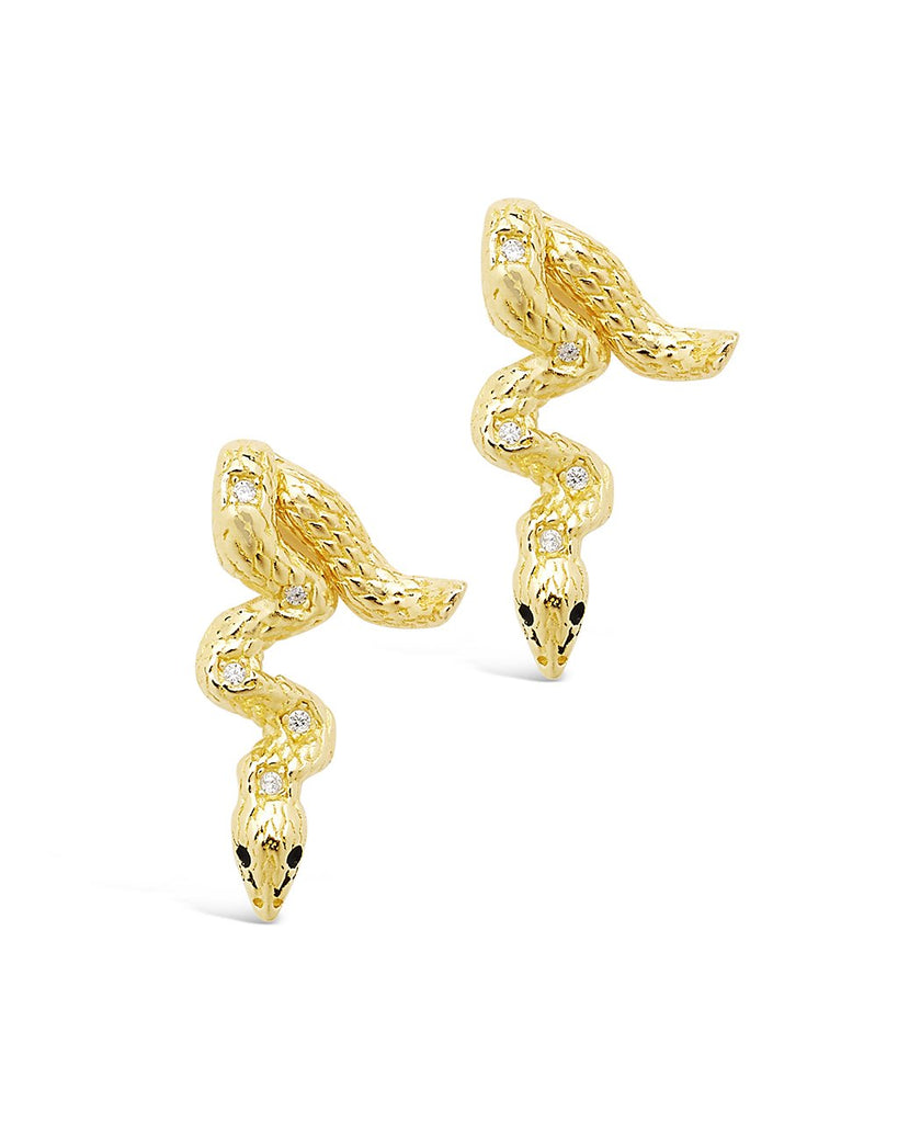 Sterling Silver Double Sided Snake Studs Earring Sterling Forever Gold