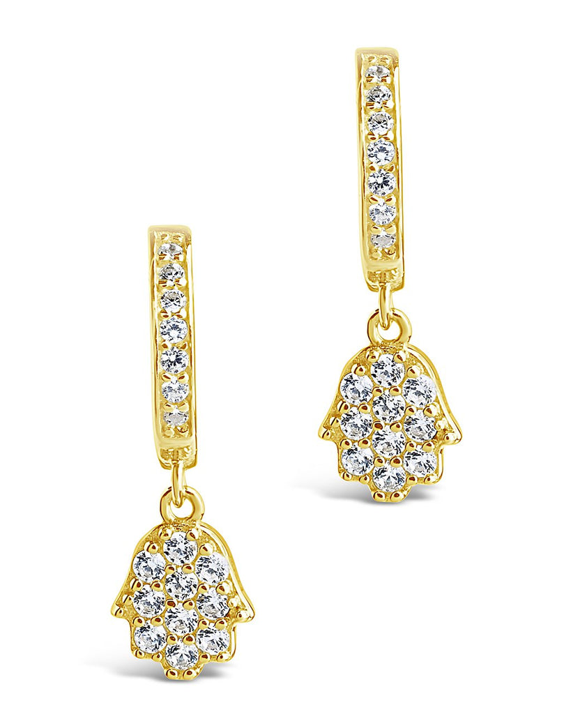 Sterling Silver CZ Hamsa Micro Hoops Earring Sterling Forever Gold