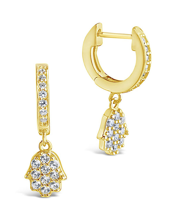 Sterling Silver CZ Hamsa Micro Hoops Earring Sterling Forever