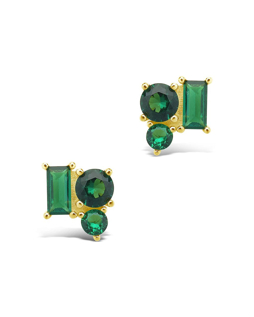 Sterling Silver CZ Cluster Studs Earring Sterling Forever Gold Emerald