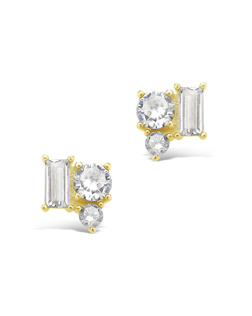 Sterling Silver CZ Cluster Studs Earring Sterling Forever Gold Clear