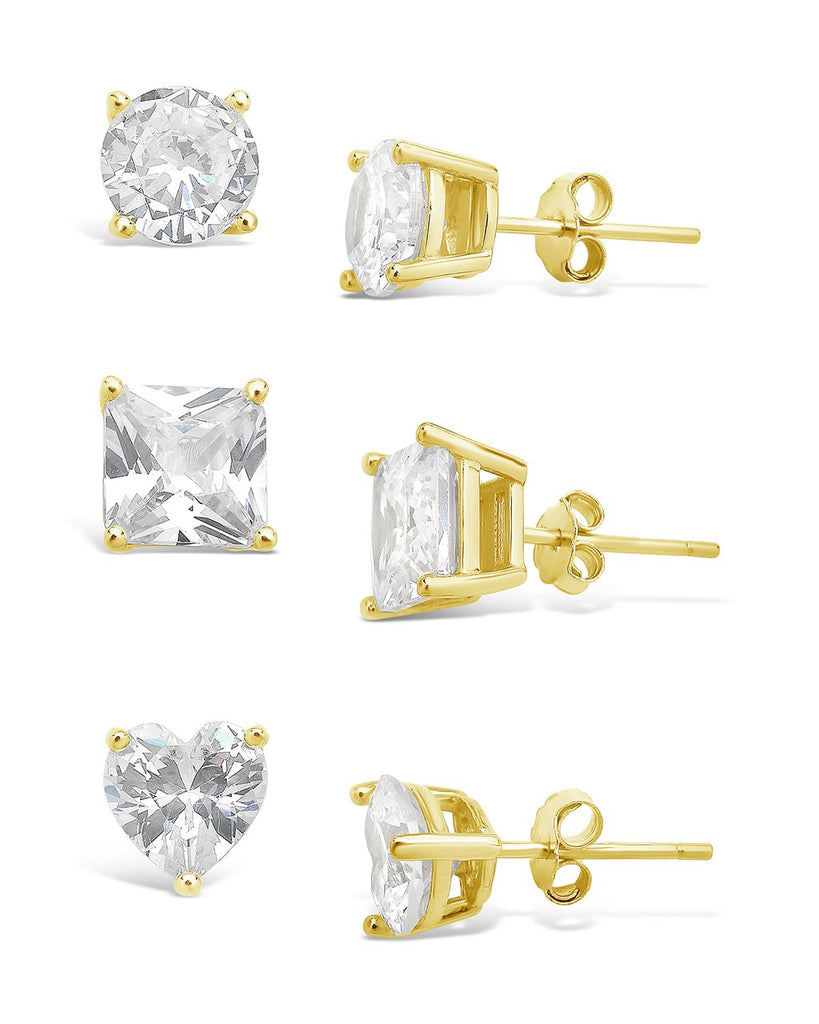 Sterling Silver Statement CZ Stud Set of 3 Earring Sterling Forever