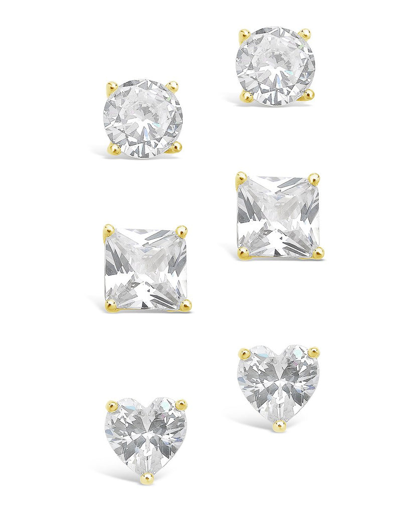 Sterling Silver Statement CZ Stud Set of 3 Earring Sterling Forever Gold