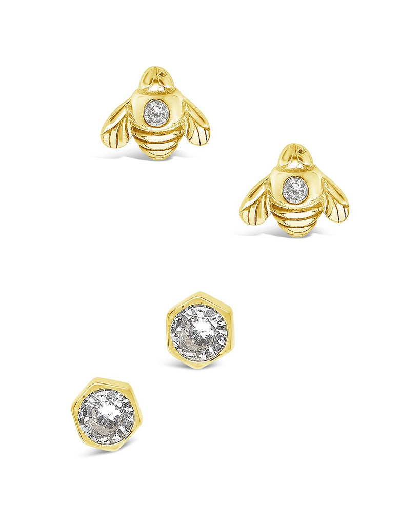 Sterling Silver Bee Stud Set of 2 Earring Sterling Forever Gold