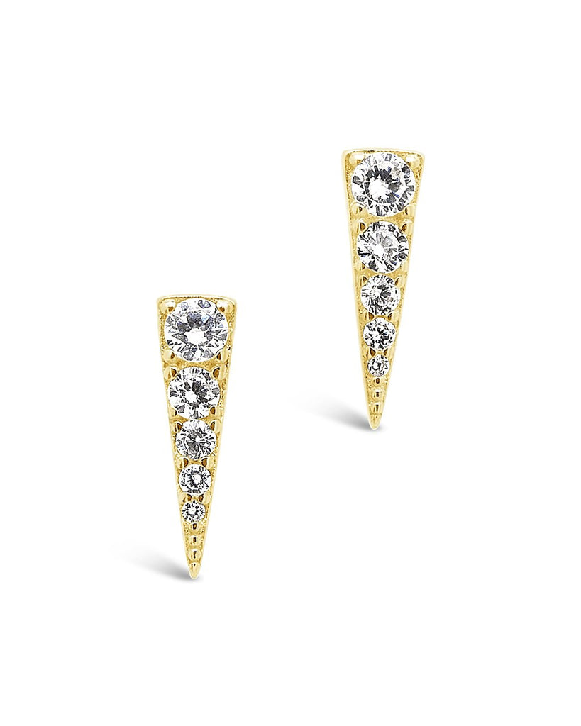 Sterling Silver CZ Pyramid Studs Earring Sterling Forever Gold