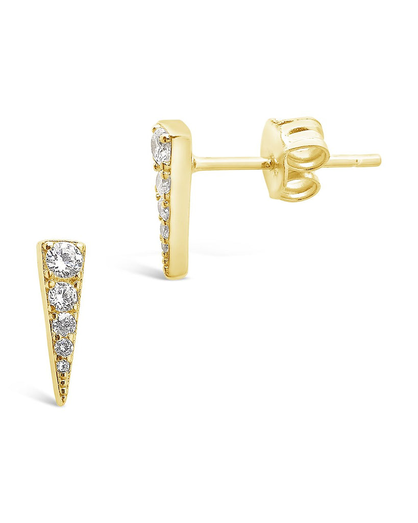 Sterling Silver CZ Pyramid Studs Earring Sterling Forever