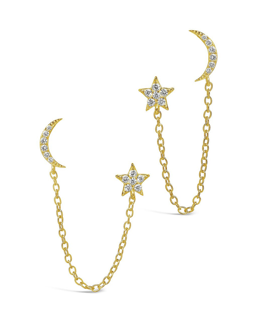 Sterling Silver Crescent & Star Double Studs Earring Sterling Forever Gold