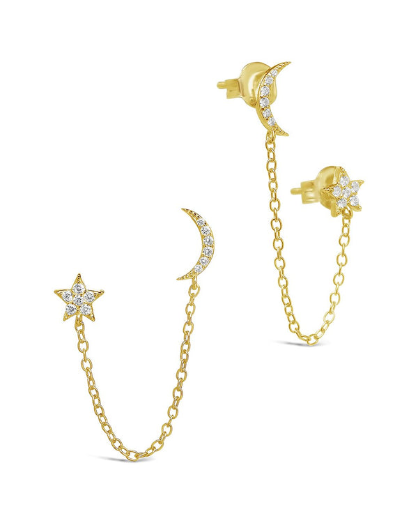 Sterling Silver Crescent & Star Double Studs Earring Sterling Forever