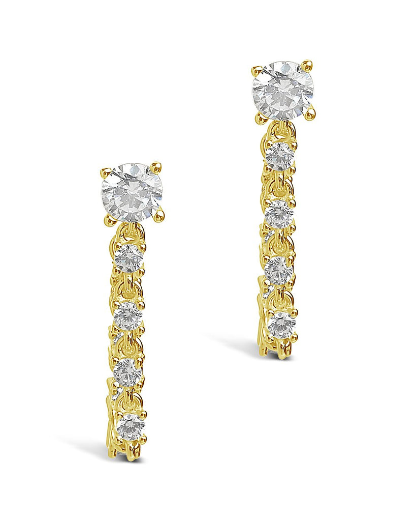Sterling Silver CZ Chain Drop Studs Earring Sterling Forever Gold