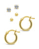 Sterling Silver Sphere, CZ Stud, & Hoop Set of 3 Earring Sterling Forever Gold