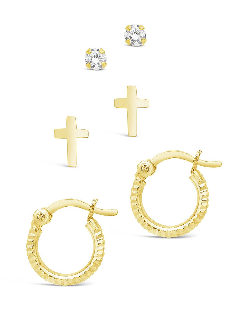 Sterling Silver Polished Cross, CZ Stud, & Textured Hoop Set of 3 Earring Sterling Forever Gold