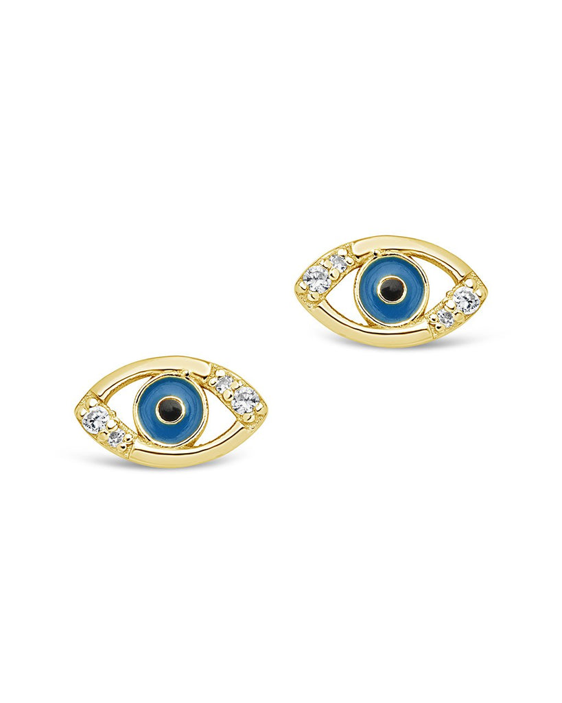 Sterling Silver Delicate Evil Eye Studs Earring Sterling Forever Gold