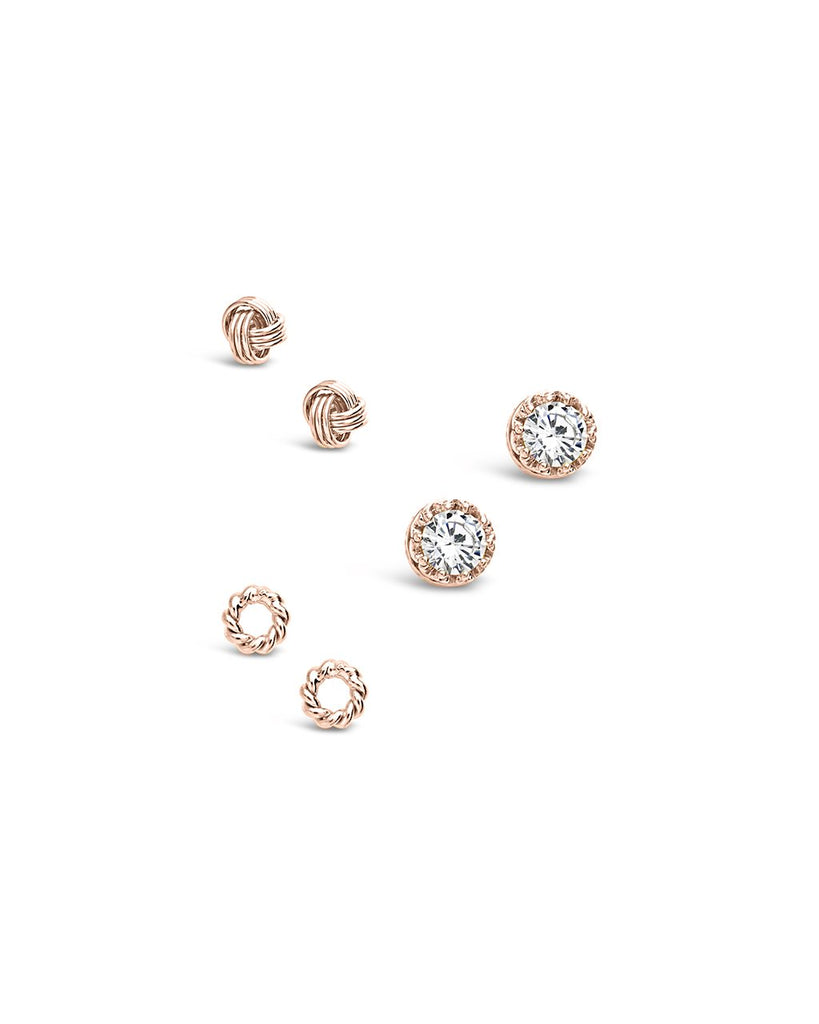 Sterling Silver Love Knot & CZ Stud Set of 3 - Sterling Forever