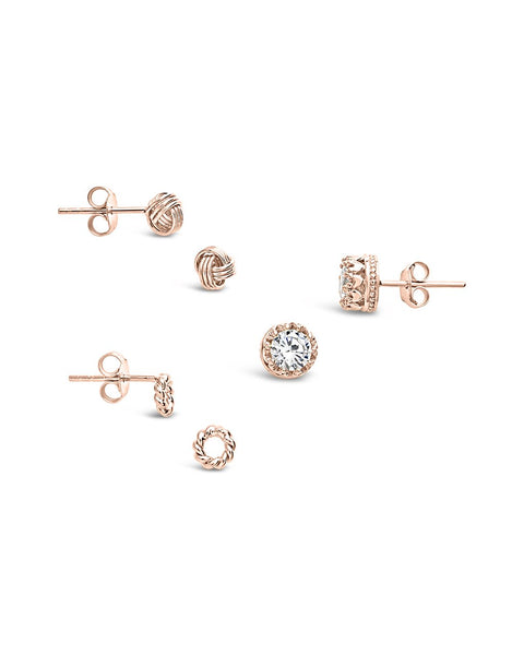 Sterling Silver Love Knot & CZ Stud Set of 3