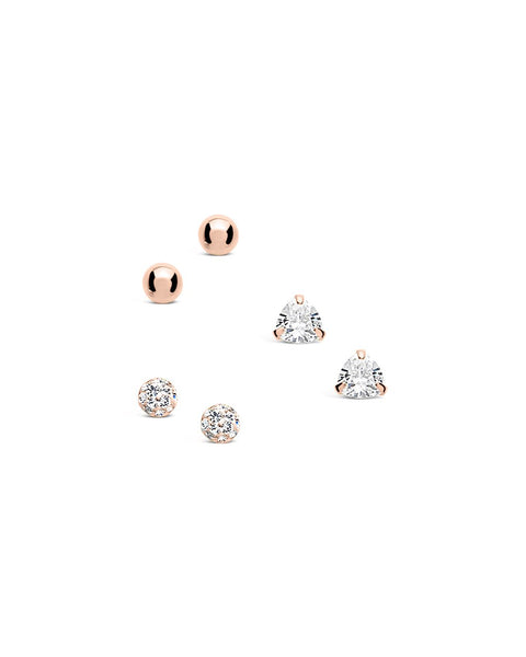 Sterling Silver CZ & Bead Stud Earring Set of 3